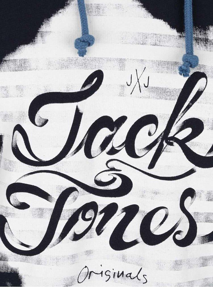 Hanorac albastru închis Jack & Jones Gerber din bumbac cu print