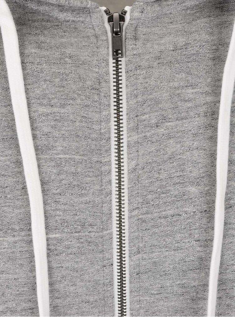 Světle šedá žíhaná mikina s kapucí Jack & Jones Storm