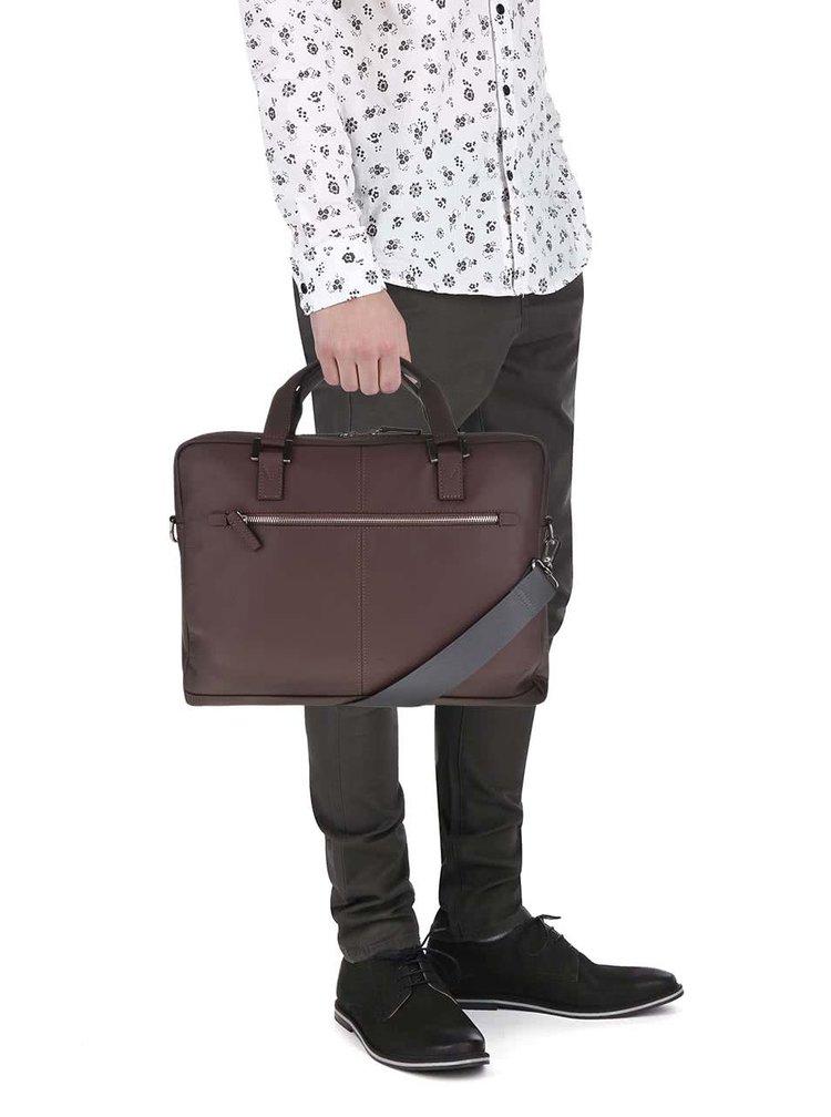 Tmavě hnědá pánská kožená taška bugatti Manhattan