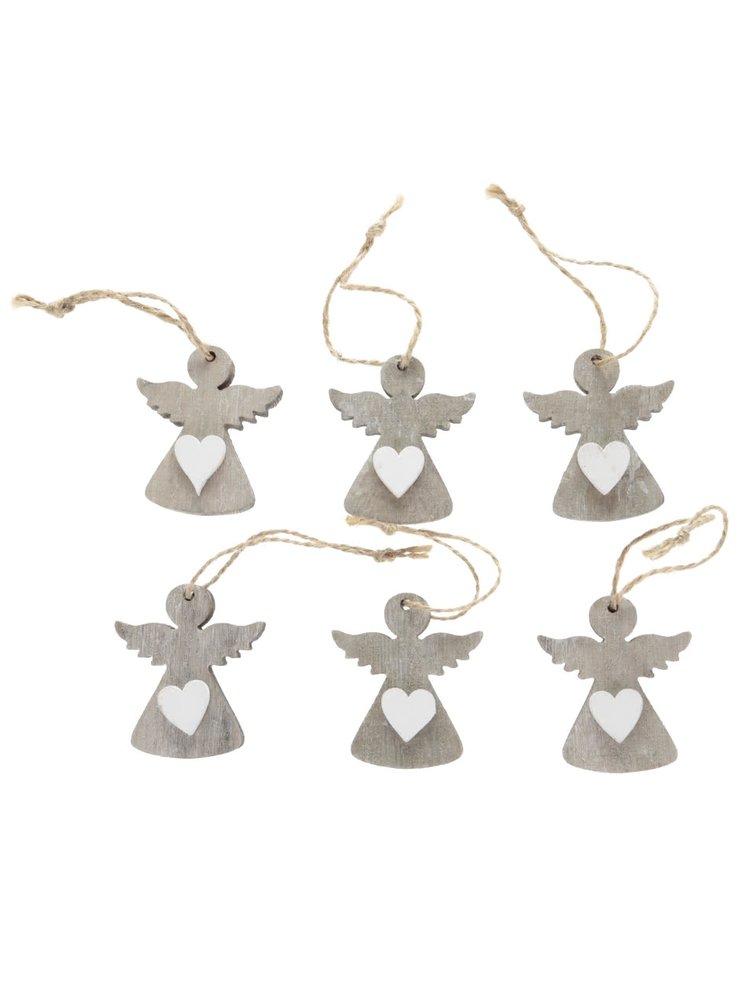 Set de 6 decorațiuni de brad Dakls gri