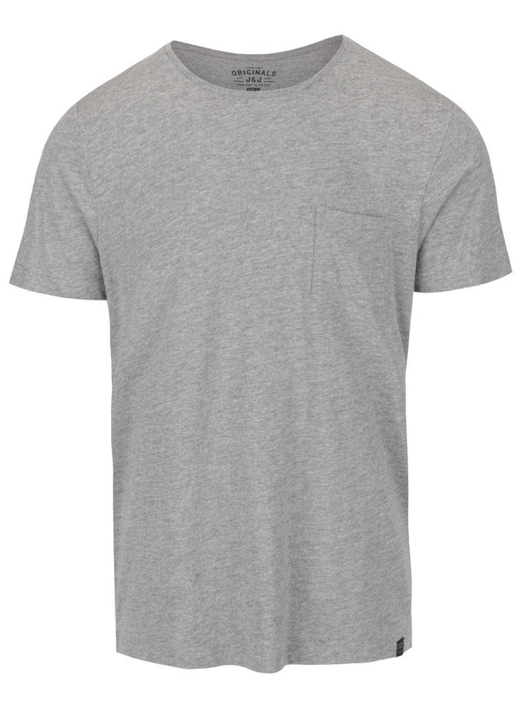 Tricou gri deschis Jack & Jones Ari din bumbac cu model discret