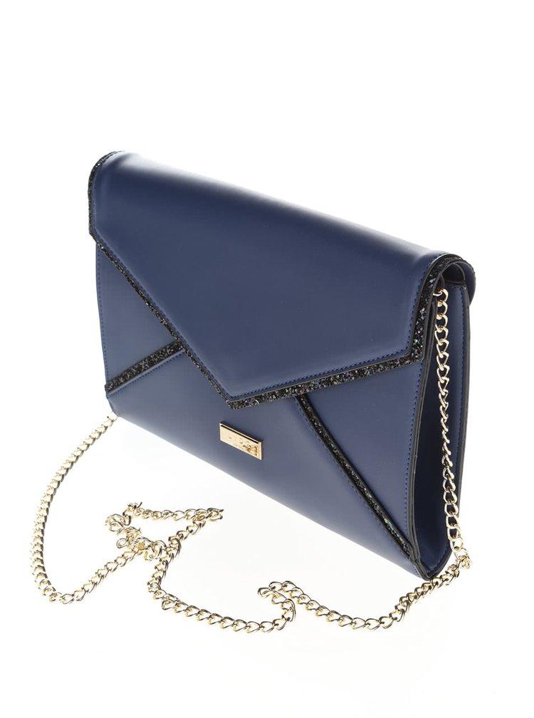 Modrá menší kabelka/psaníčko s detaily ve zlaté barvě LYDC