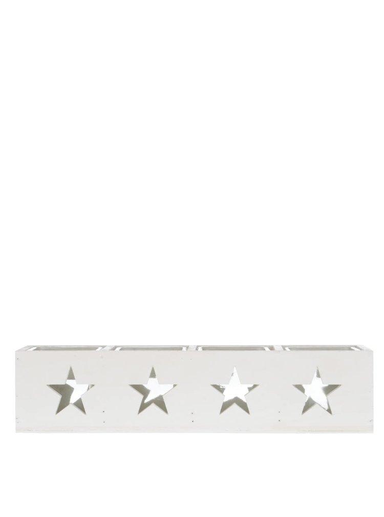 Bílý dlouhý dřevěný svícen s hvězdami Dakls