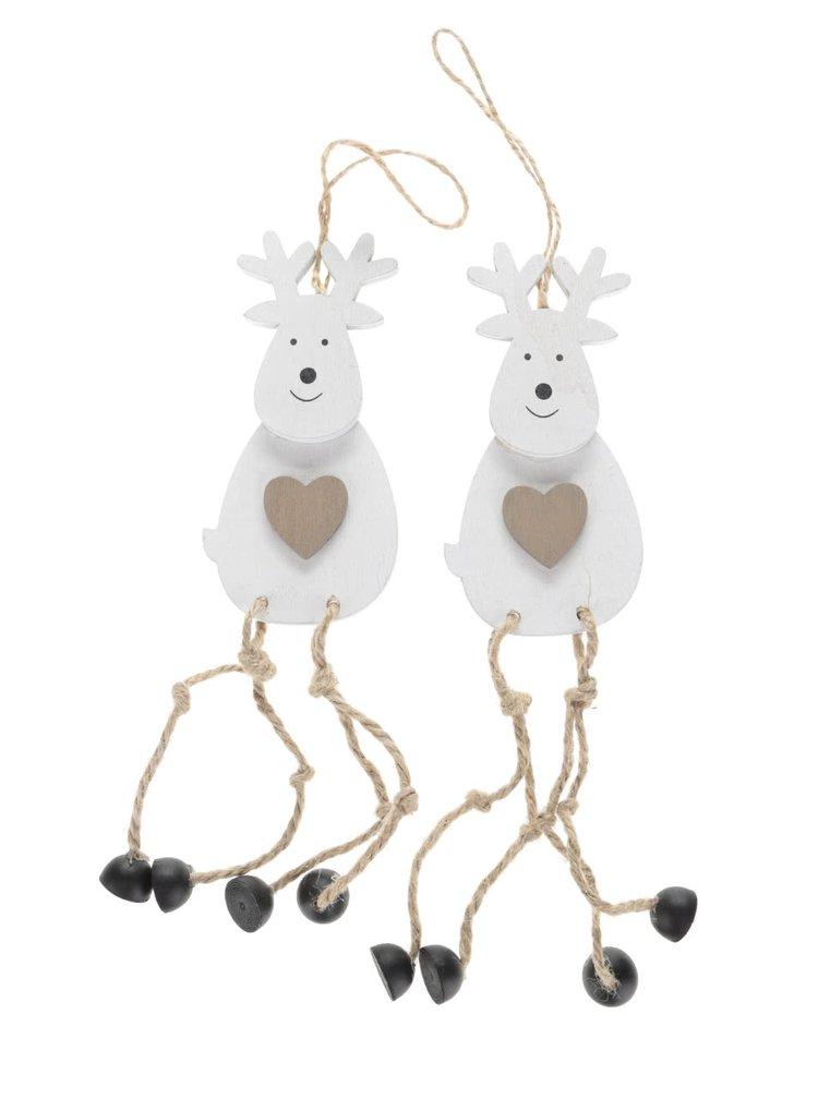 Sada dvou bílých dřevěných závěsných sobů se srdcem Dakls