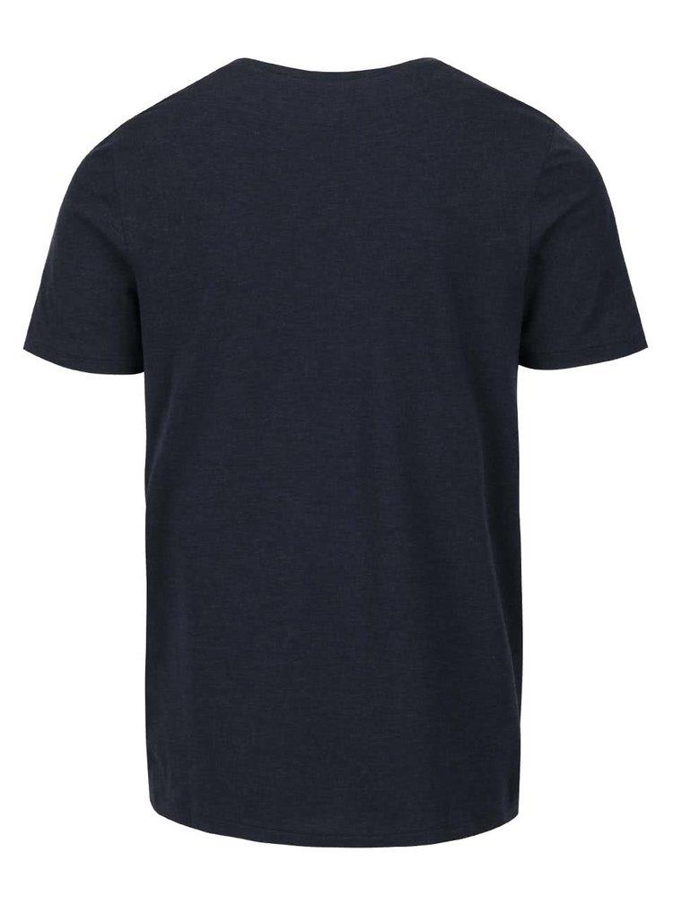 Tricou albastru inchis Jack & Jones Recycle Gardner cu print