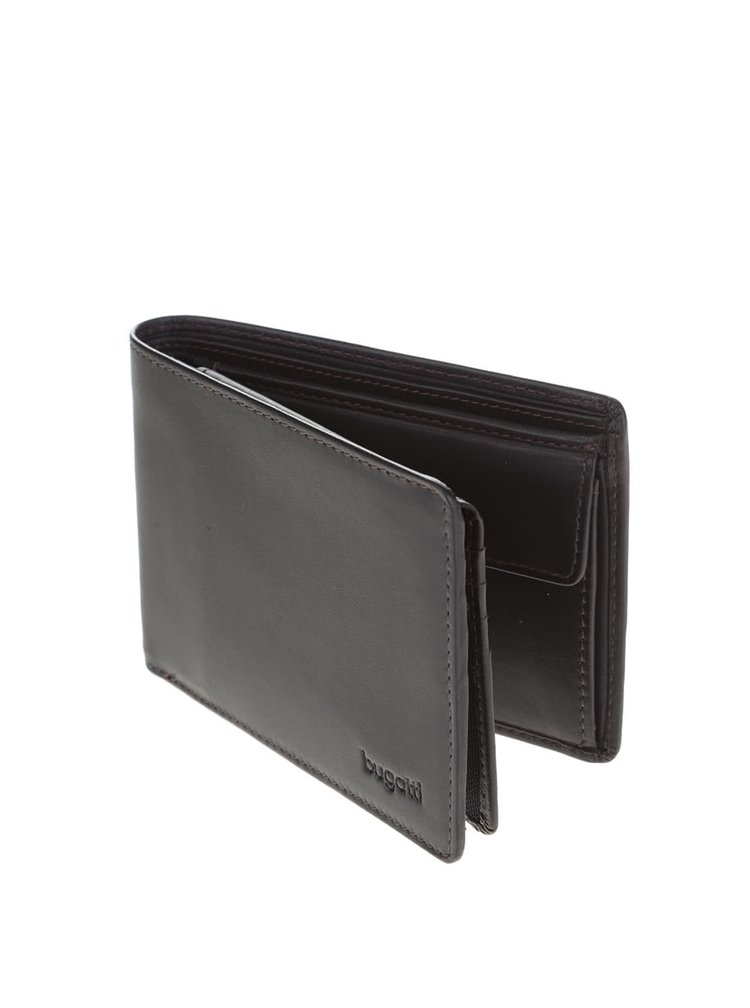 Tmavohnedá pánska kožená peňaženka bugatti Primo
