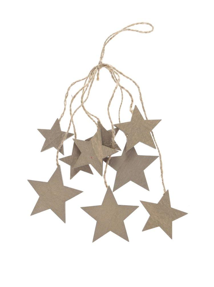 Hnedá drevená závesná dekorácia zväzok hviezd Dakls