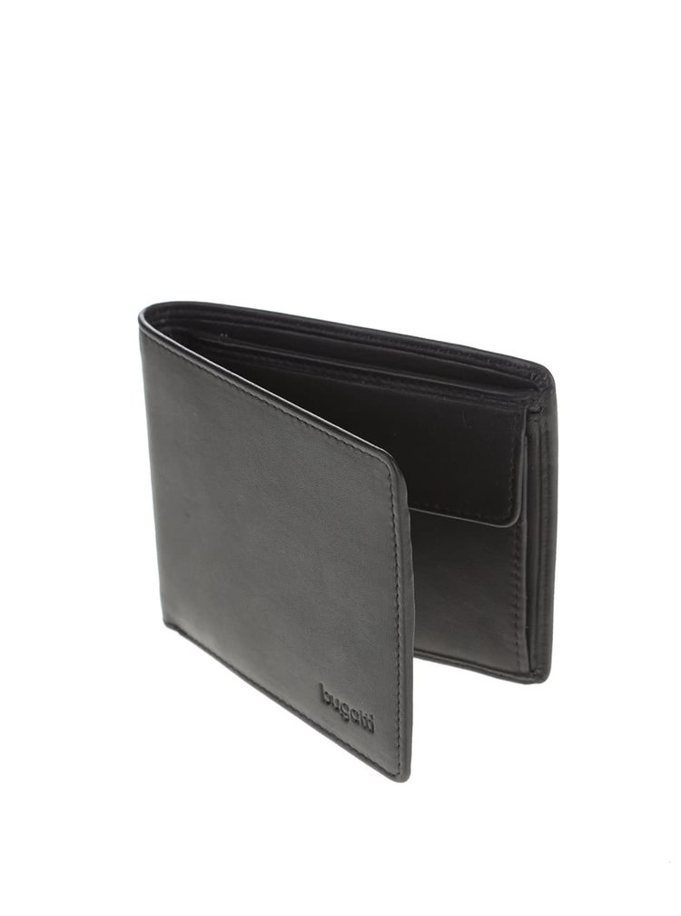 Černá pánská kožená menší peněženka bugatti Primo