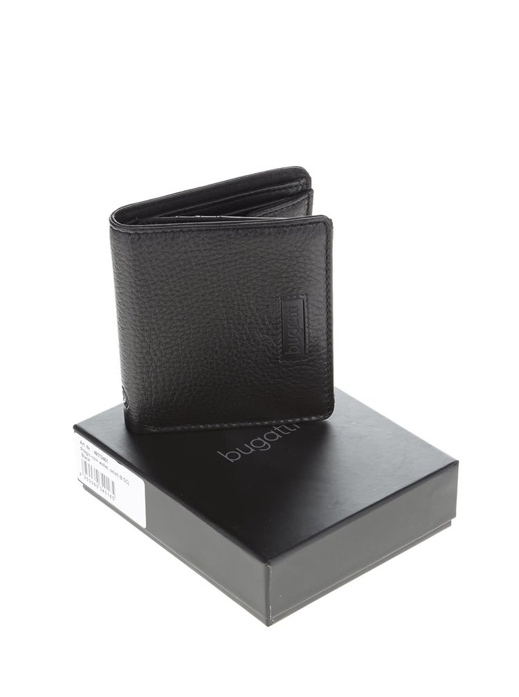 Čierna pánska kožená peňaženka bugatti Pregio