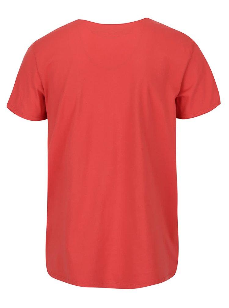 Oranžové tričko s véčkovým výstrihom Jack & Jones Wolf