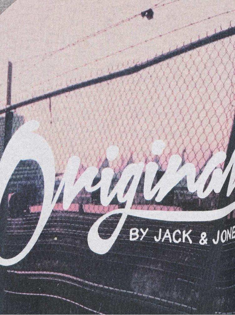 Světle šedé žíhané triko s kulatým potiskem Jack & Jones Funbox