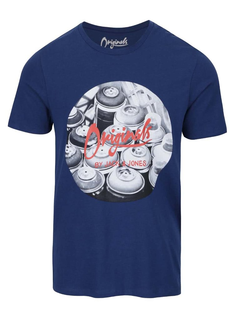 Tricou albastru Jack & Jones Funbox din bumbac cu print
