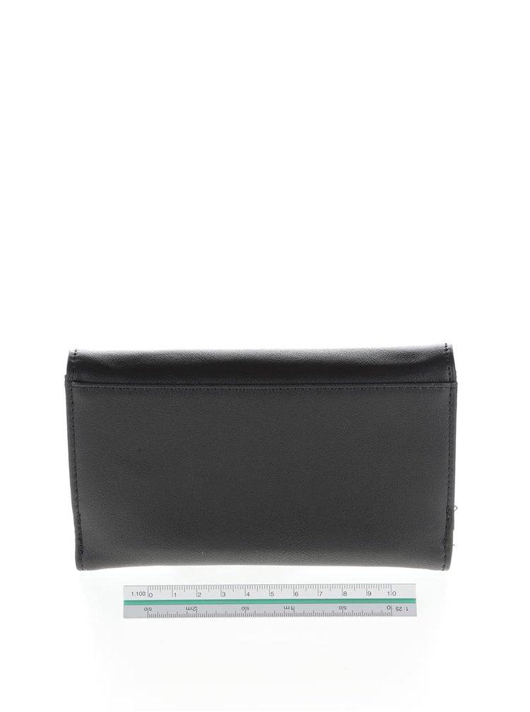 Čierna peňaženka s mašľou a detailom v zlatej farbe LYDC