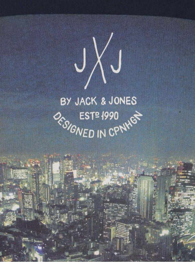 Tmavomodré tričko s potlačou Jack & Jones Funbox