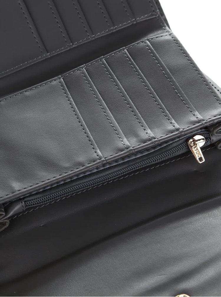 Sivá peňaženka s mašľou a detailom v zlatej farbe LYDC