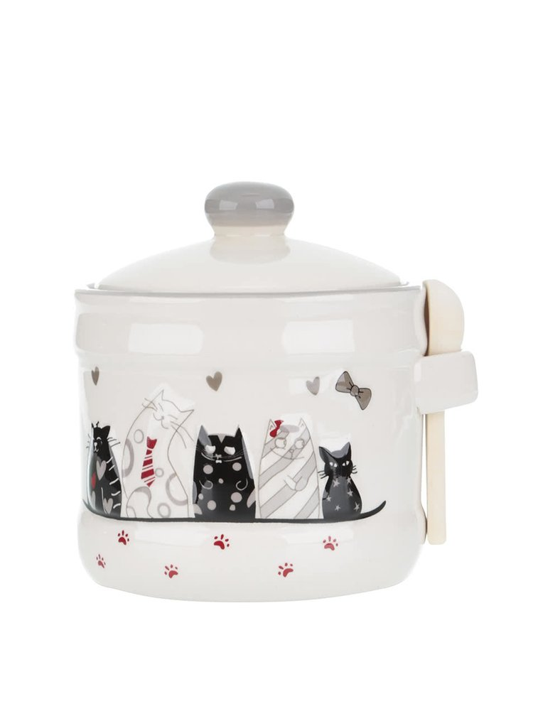Krémová keramická nádoba s motivem koček Dakls