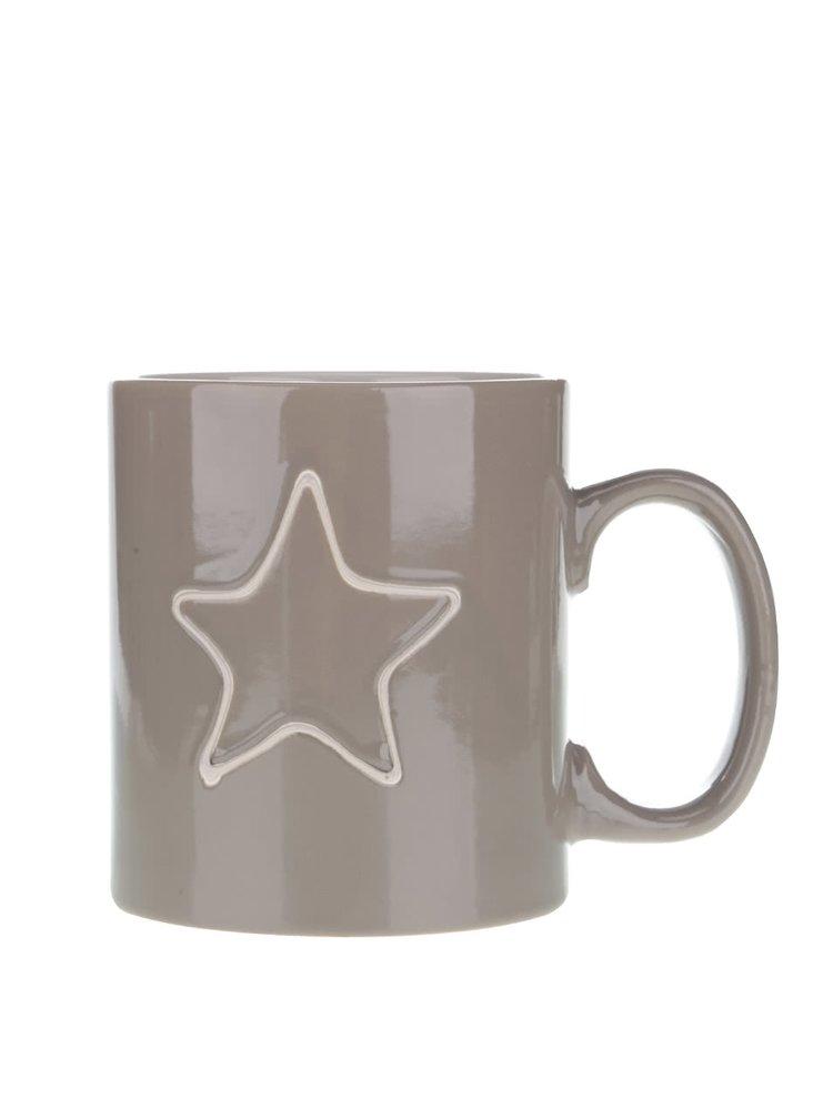 Hnedý keramický hrnček s hviezdou Dakls