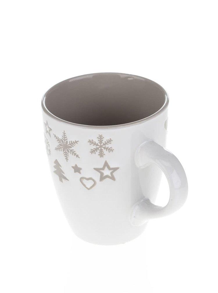 Krémový keramický hrnek s vánočním motivem Dakls