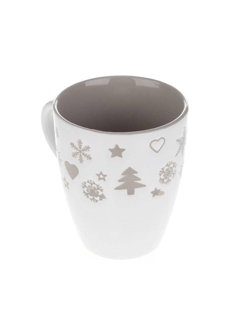 Krémový keramický hrnček s vianočným motívom Dakls