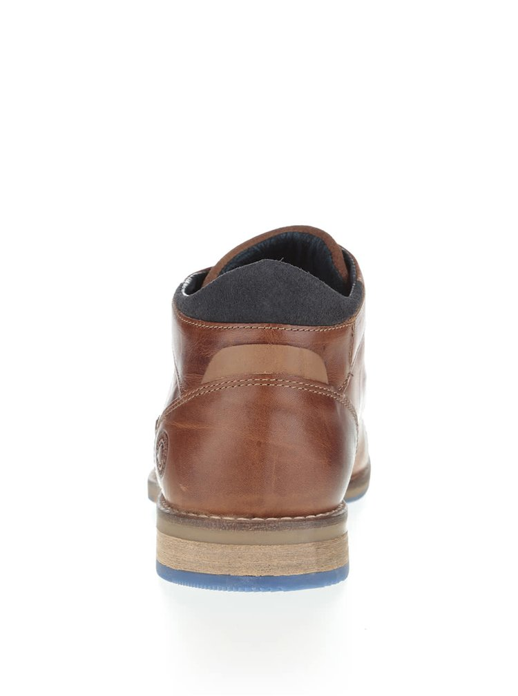 Hnedé pánske kožené členkové topánky s tmavomodrými detailmi Bullboxer