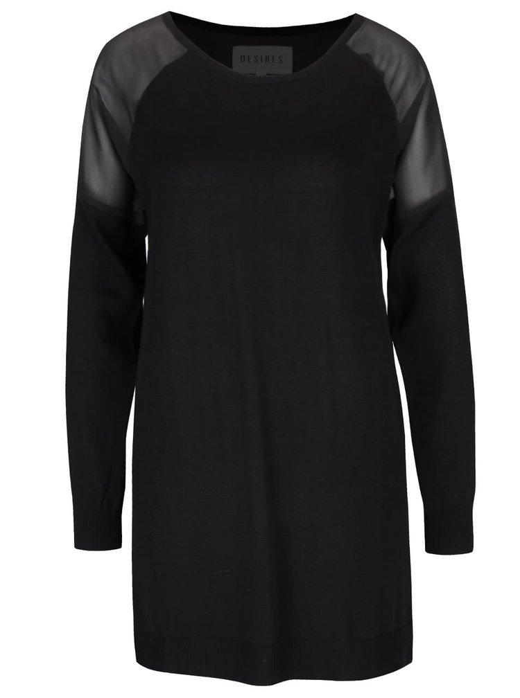 Černý dámský lehký svetr s průhlednými rameny Desires Givara