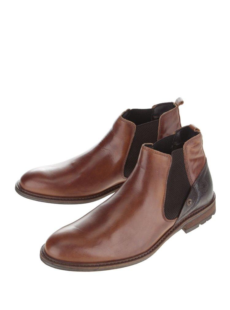 Hnědé pánské kožené kotníkové chelsea boty Bullboxer