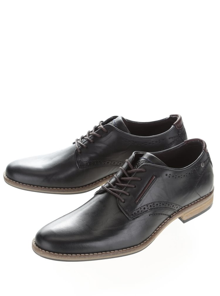 Pantofi negri brogue Bullboxer din piele