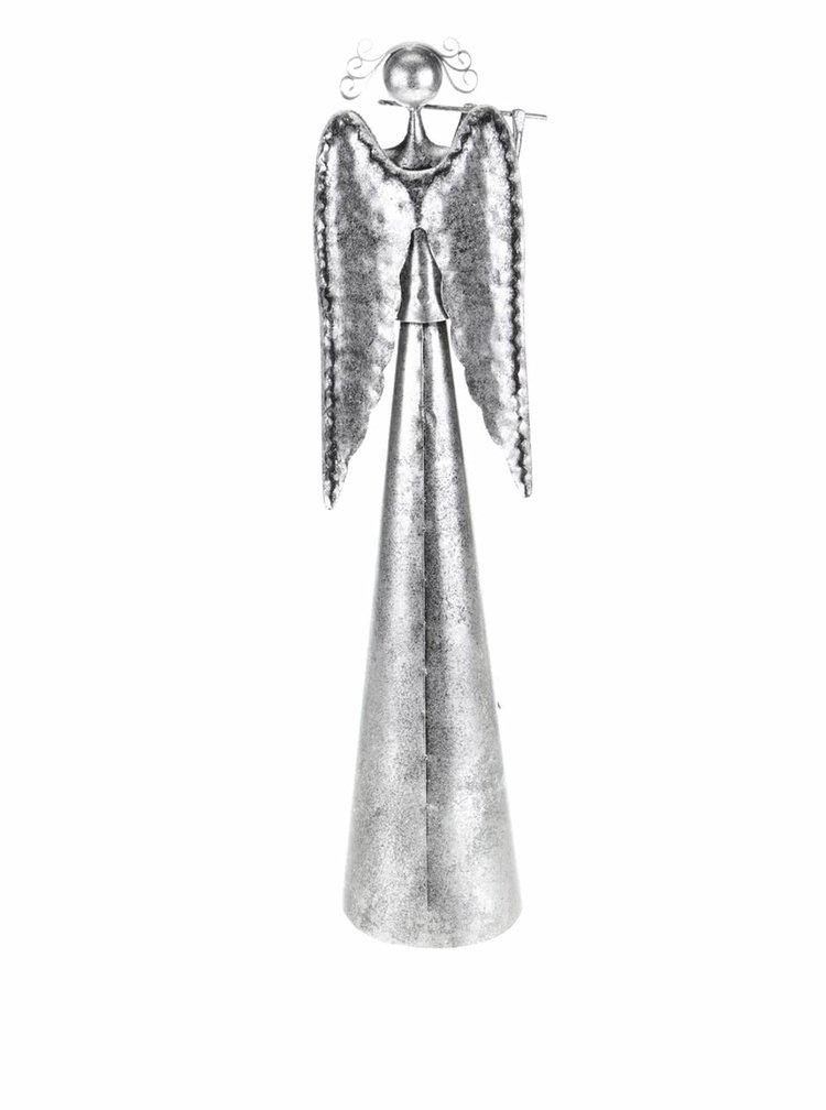 Šedý velký anděl s flétnou Dakls