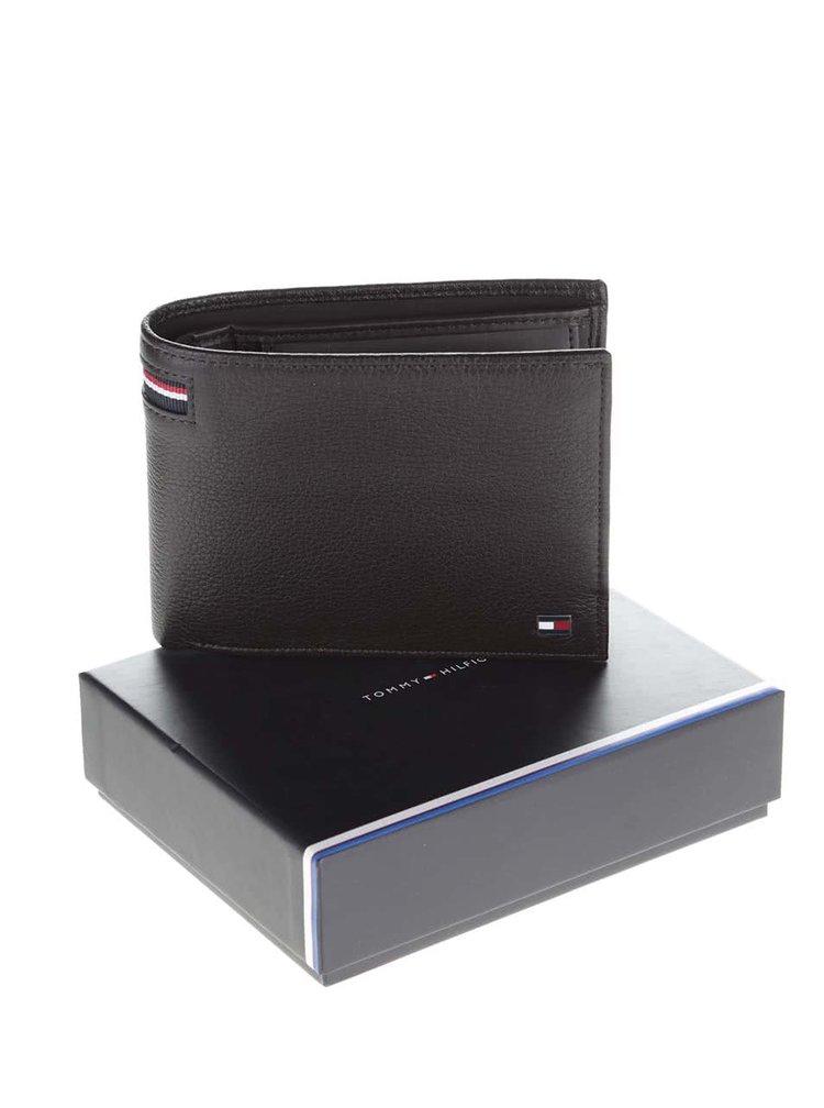 Čiernohnedá kožená pánska peňaženka s logom Tommy Hilfiger