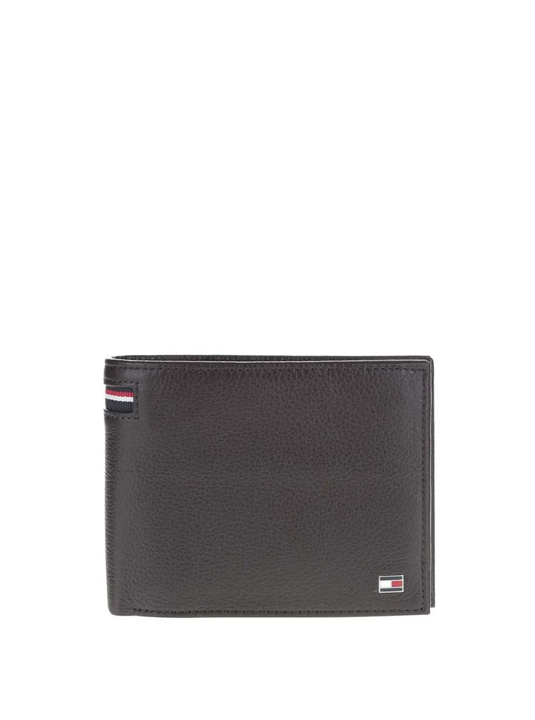 Černohnědá kožená pánská peněženka s logem Tommy Hilfiger