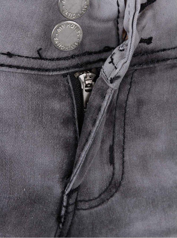Šedé džíny s vyšisovaným efektem a nízkým pasem Haily´s Catty