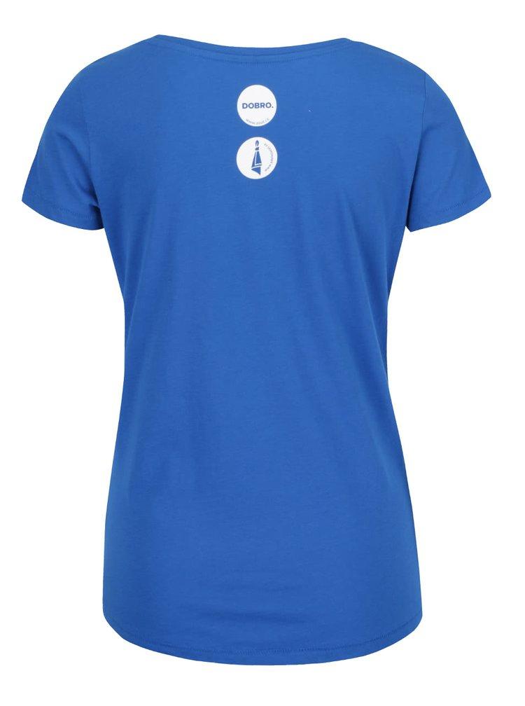 """""""Dobré"""" modré dámské tričko s potiskem puntíků Mamma HELP"""