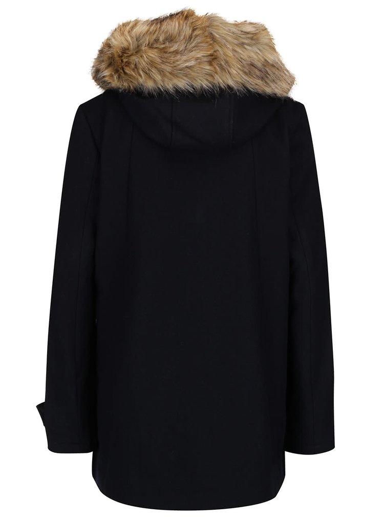 Tmavomodrý dámsky vlnený kratší kabát s umelým kožúškom Superdry