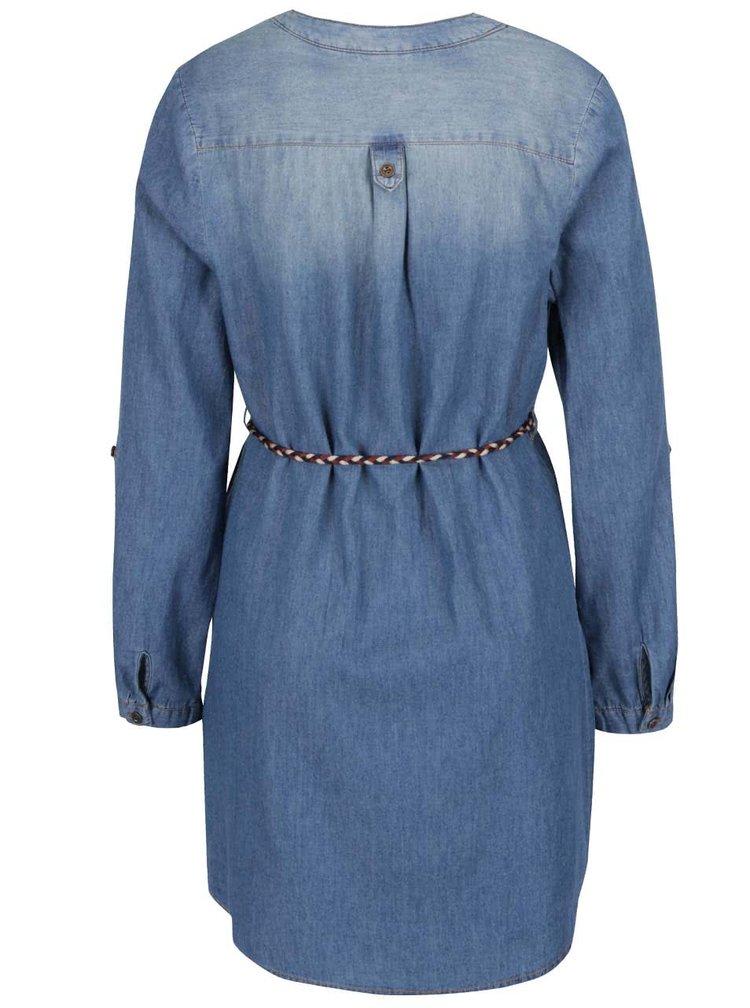 Modré denimové košilové šaty s tenkým páskem Haily's Pat