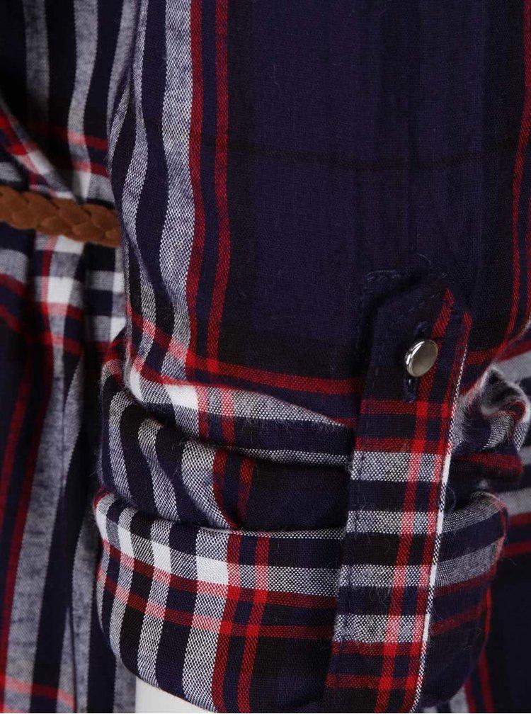 Červeno-modré kostkované košilové šaty s tenkým páskem Haily's Patty