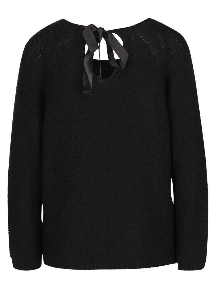 Čierny sveter s viazankou a potlačou srdca ZOOT