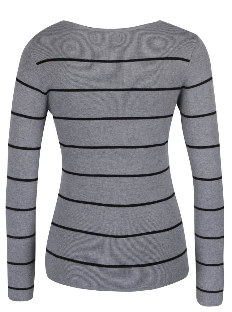 Šedé pruhované tričko s dlouhým rukávem Haily´s Karen