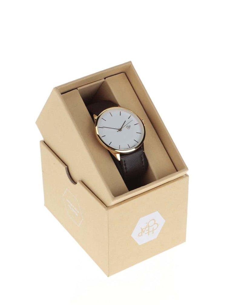 Unisex hodinky ve zlaté barvě s tmavě hnědým koženým páskem CHPO Khorshid Gold