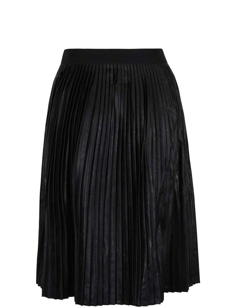 Černá koženková plisovaná sukně ZOOT