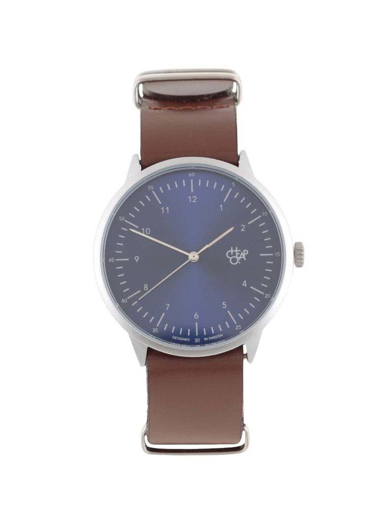 Unisex hodinky ve stříbrné barvě s hnědým koženým páskem CHPO Harold Navy Metal