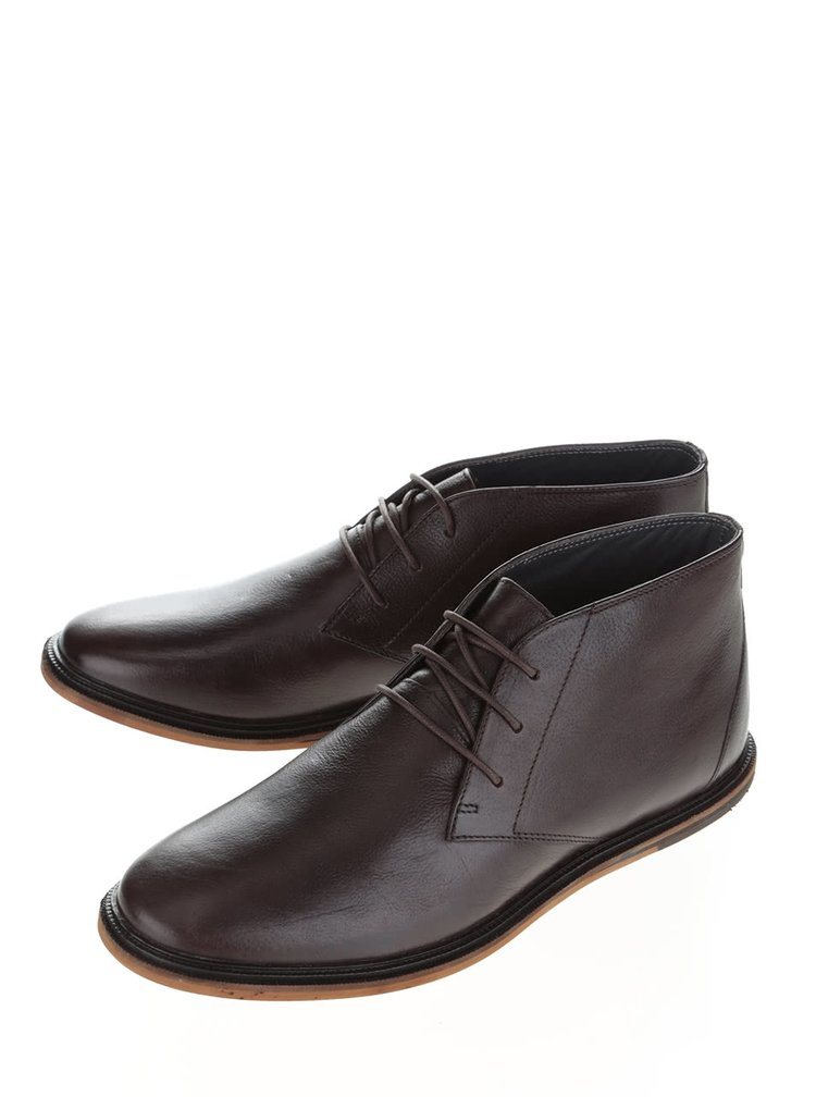 Tmavě hnědé kožené kotníkové boty Frank Wright Walker