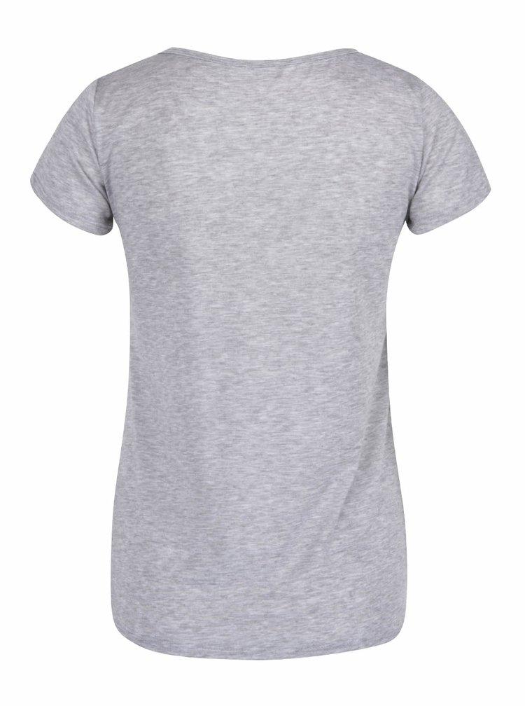 Sivé melírované tričko s nášivkami a krátkym rukávom Haily´s Badge