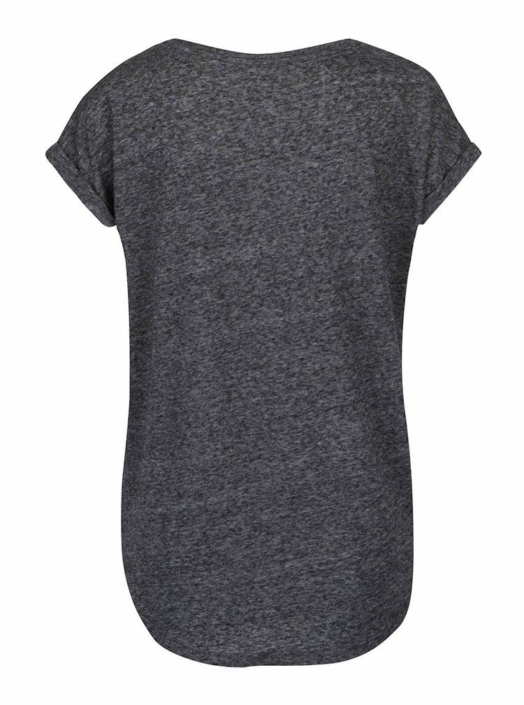 Tmavě šedé žíhané tričko s potiskem sovy Haily´s Lole
