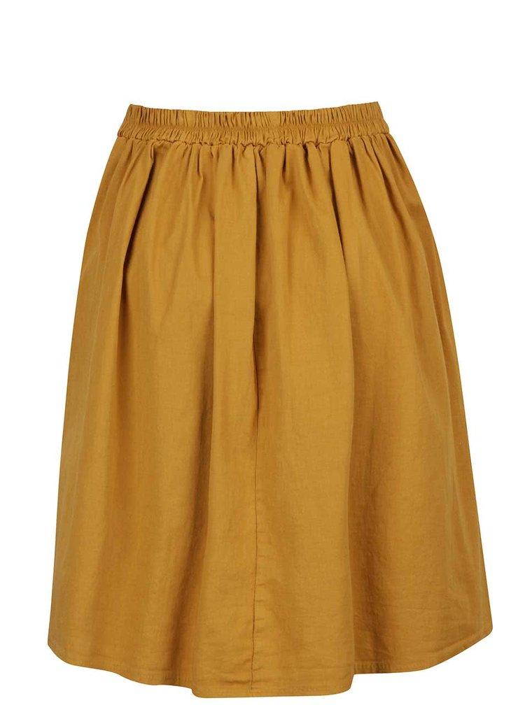 Hořčicová skládaná sukně ZOOT