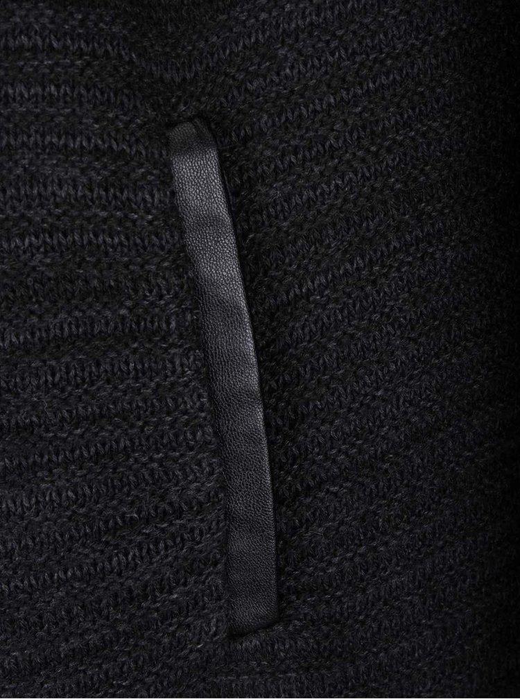 Tmavě šedý kardigan s koženkovými detaily b.young
