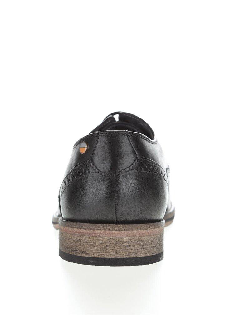 Čierne kožené členkové topánky Frank Wright Merton