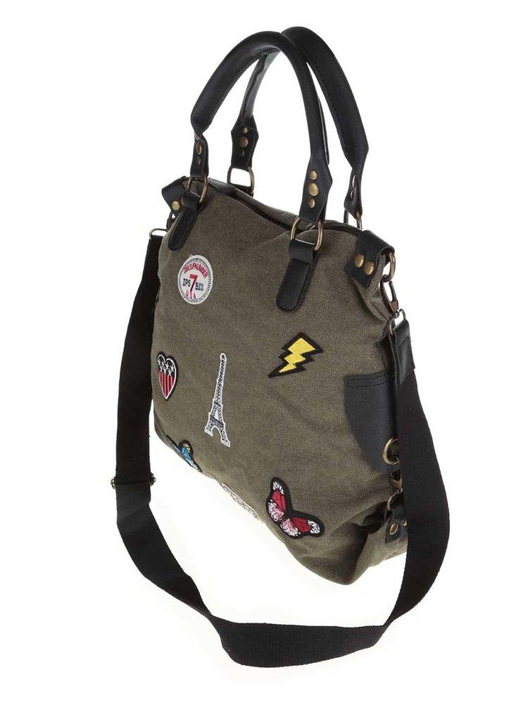 Khaki kabelka s našivkami Haily's Kim