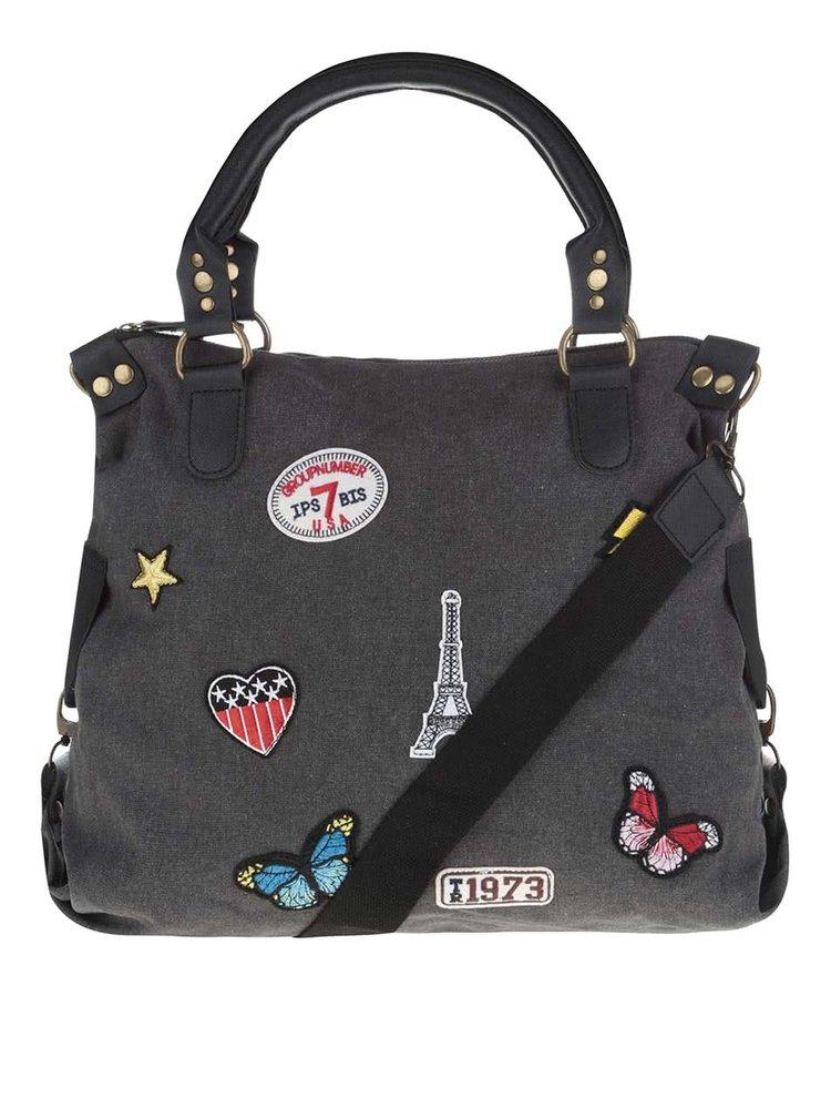 Černá kabelka s nášivkami Haily's Kim