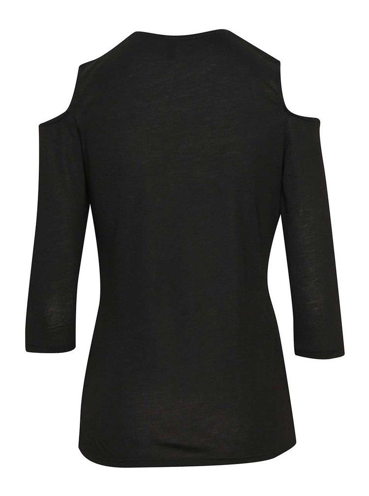 Černé tričko s průstřihy na ramenou Haily´s Weekend