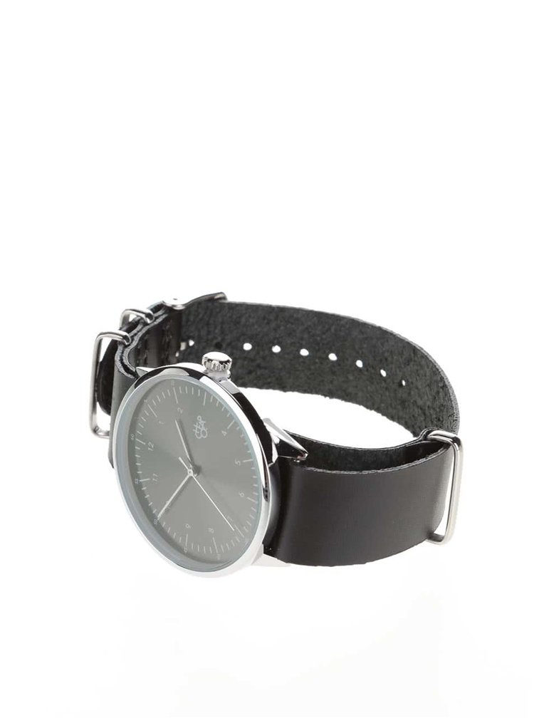 Unisex hodinky ve stříbrné barvě s černým koženým páskem CHPO Harold Groove Metal